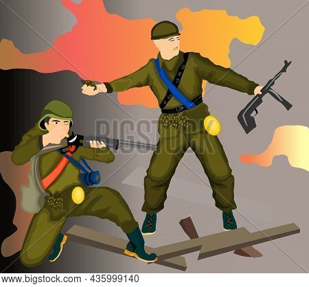Soldier Throwing Grenade, War Vector Illustration. Soldier Throwing Grenade, War Vector Illustration