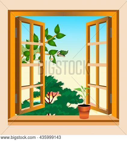 A Pot With A Plant On The Windowsill, A Window Overlooking The Trees Vector Illustration.