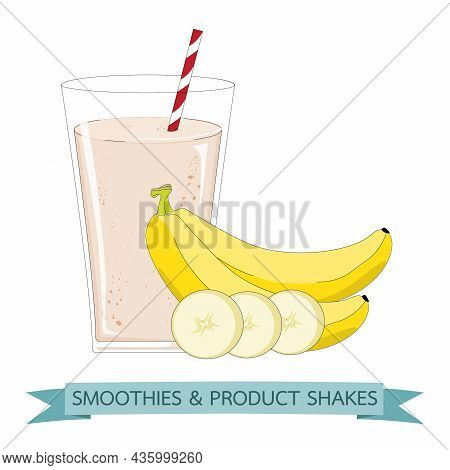Smoothies Banana In Cups. Mix Organic Fruit Shake Health And Super Foods For Detox Diet Concept.