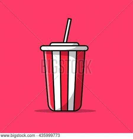 Soda Drink Cartoon Vector Icon Illustration. Food Drink Icon Concept Isolated Premium Vector. Flat C