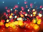 Bokeh. Abstract Christmas soft lights on dark blue background poster