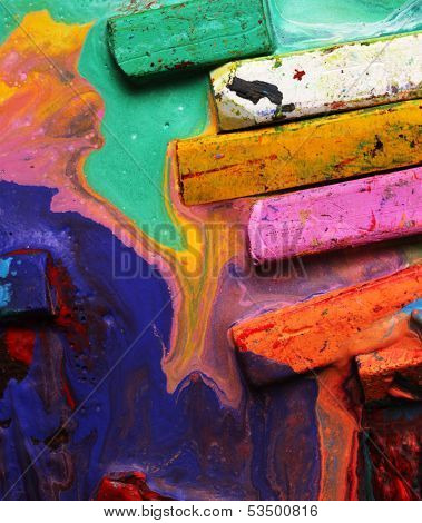 Close up of multicolored Oil pastels and crayons poster