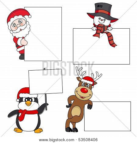 Santa Claus, snowman, reindeer, penguin with a poster. Space for text or photo poster