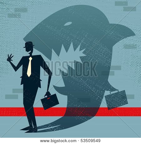 Abstract Businessman Is A Shark In Disguise