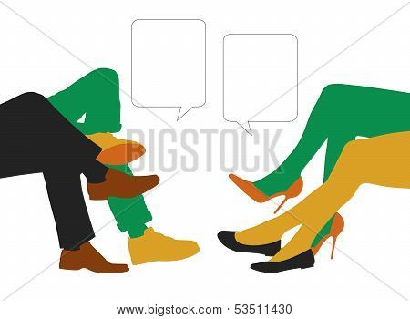 Dialogue Between Men And Women Seated