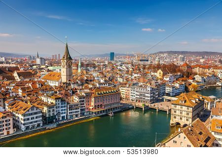 Downtown of Zurich at sunny day poster