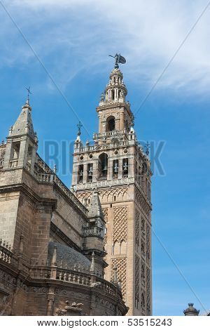 Detail Of The Giralda Tower At Seville Cathedral Spain