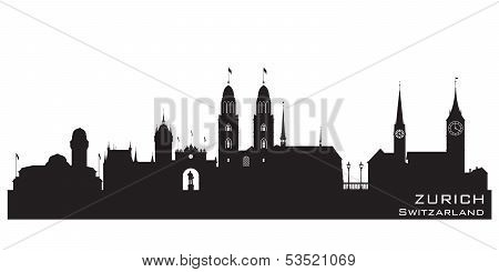 Zurich Switzerland City Skyline Vector Silhouette