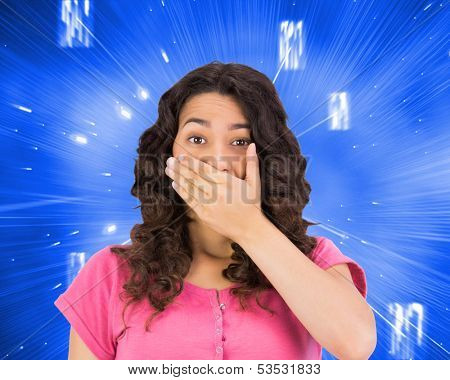 Composite image of brown haired woman being shocked poster