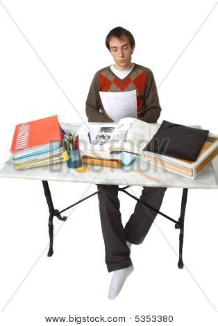 Student At Table General View