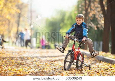 Happy boy with bicycle in the autumn park