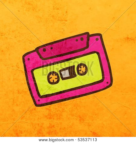 Audiocassette. Cute Hand Drawn Vector illustration, Vintage Paper Texture Background