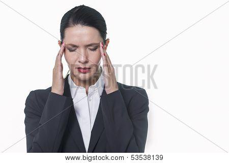 Stylish Pretty Businesswoman With Headache