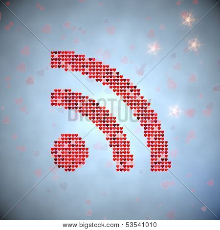 3D Render Of A Soft Wifi Symbol Of Thousand Hearts