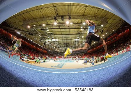 GOTHENBURG, SWEDEN - MARCH 1 Runners compete in the qualification of the men's 400m event during the European Athletics Indoor Championship on March 1, 2013 in Gothenburg, Sweden.