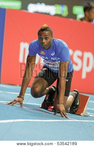 GOTHENBURG, SWEDEN - MARCH 1 Thomas Jordier (France) prepares for the start of the men's 400m event during the European Athletics Indoor Championship on March 1, 2013 in Gothenburg, Sweden.