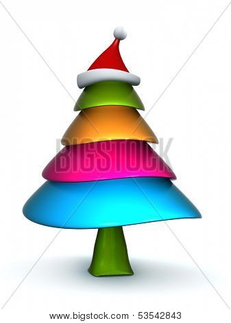 Colorful candy Christmas tree with stanta hat 3d illustration poster