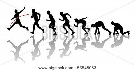 Silhouettes Of A Man Winning A Marathon