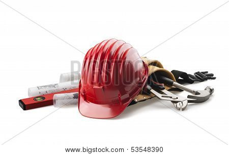 red hard hat with tools