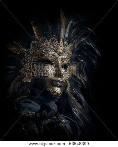 golden venetian mask low key