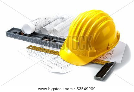 contractor still life with hardhat