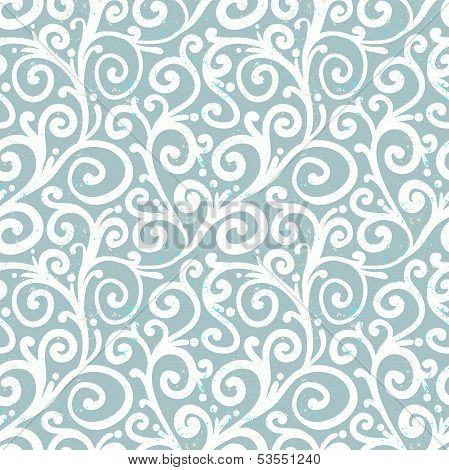 White waving curls on silver grey, seamless vector pattern. Texture for wrapping paper, wedding invitation background poster