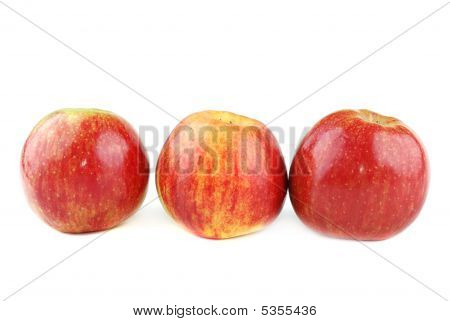 Red juicy apples with yellow points on sides. poster