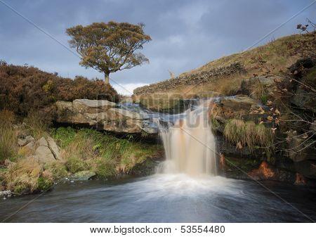 beautiful waterfall on the moorland in yorkshire