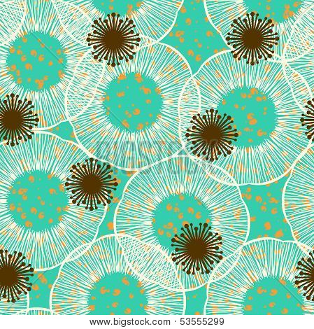 Abstract detailed floral seamless vector pattern in 50s style. Texture for web, print, textile, wallpaper, wrapping paper. poster