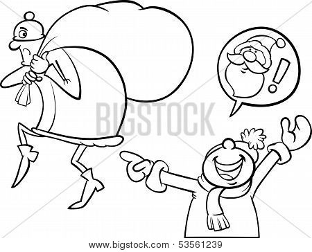 Santa Mistake Cartoon Coloring Page