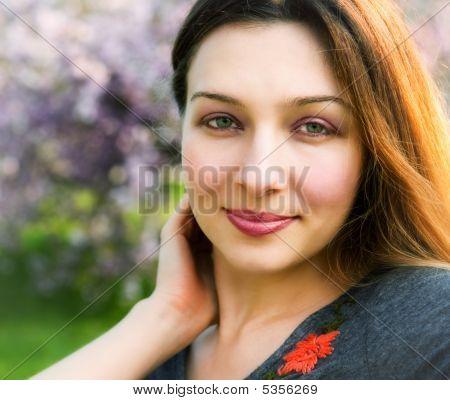 Smile Of Sensual Serene Beautiful Woman Outdoor