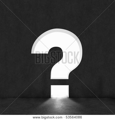 Background image with question mark on dark wall