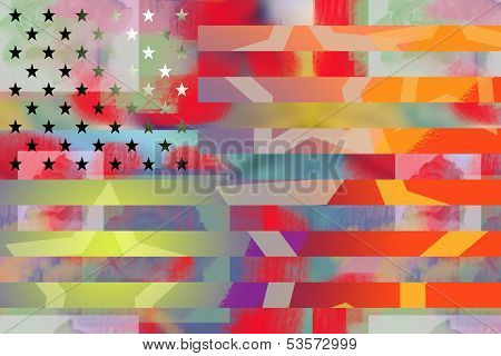 American flag graffiti styled