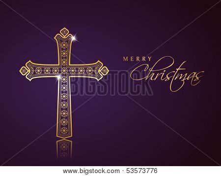 Merry Christmas celebration background with golden Christian Cross on purple background.