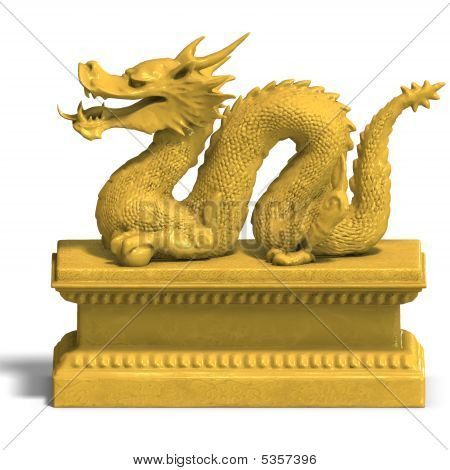 Golden Chinese Dragon Statue