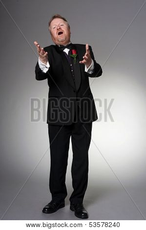 Middle Aged Opera Singer Performing