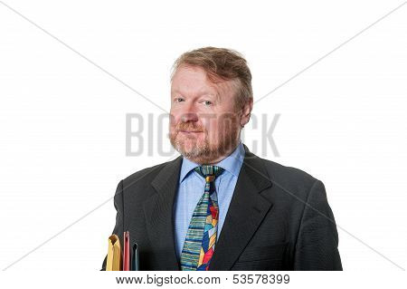 Concerned or disbelieving Businessman With Folders - On White poster