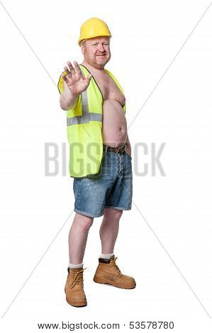 Builder In Hard Hat Gesturing - Isolated On White
