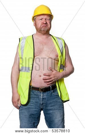 Builder With Stomache Ache, In Hard Hat - Isolated On White