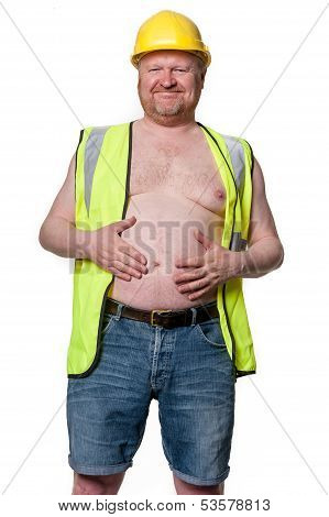 Happy Construction Worker In Hard Hat - Isolated On White
