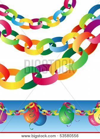 Paper Chains with Balloons Banner