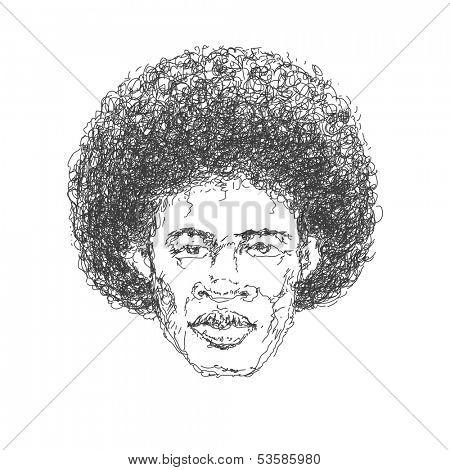 Afroamerican man. Hand drawn. Jpeg version.