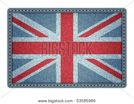 Great Britan flag. Realistic denim. Jpeg version