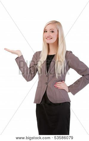 Businesswoman Standing Smiling Holding Her Hand Showing Something