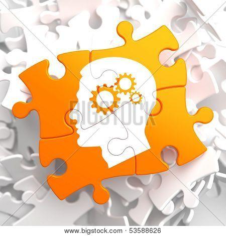 Psychological Concept on Orange Puzzle.