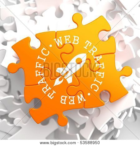 Web Traffic Concept on Orange Puzzle.