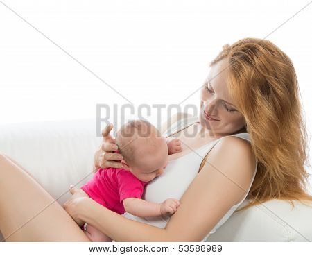 Woman Getting Ready For Breastfeeding Her Infant Child Baby Girl