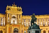 Hofburg Palace by night Vienna austrian national library at hofburg complex poster