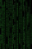 Vertical Green Binary Code Matrix Background on Black poster