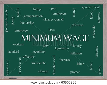 Minimum Wage Word Cloud Concept on a Blackboard with great terms such as pay laws hourly workers and more. poster
